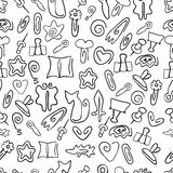 Doodle seamless pattern with paper clips of various shapes Royalty Free Stock Image