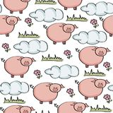 Doodle seamless pattern with pigs. Vector eps 10 royalty free illustration