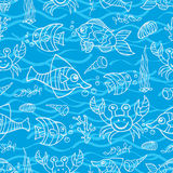 Doodle seamless pattern.Sea Life Stock Image