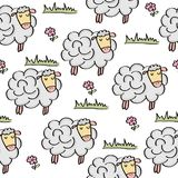 Doodle seamless pattern with sheep. Vector eps 10 vector illustration