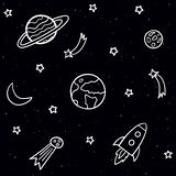 Doodle seamless pattern with space elements. Stars, planets, comet, moon, rocket, shooting stars on the dark night background. royalty free illustration