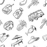 Doodle seamless pattern with summer beach cute objects. Stock Photo