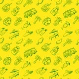 Doodle seamless pattern with summer beach cute objects. Stock Images