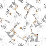 Doodle seamless pattern Stock Photo