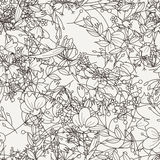 Doodle seamless pattern with various doodle flowers, leaves and branches. Royalty Free Stock Image