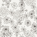 Doodle seamless pattern with various doodle flowers, leaves and branches. Stock Photography