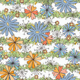 Doodle seamless pattern with various doodle flowers, leaves and branches. Royalty Free Stock Images