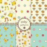 Doodle seamless patterns Stock Photos