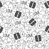 Doodle seamless Valentine`s day pattern isolated on white background. vector elements: hearts,leaves,cherry,envelopes,gifts and le Royalty Free Stock Photography