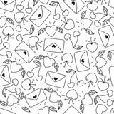 Doodle seamless Valentine`s day pattern  on white background. vector elements: hearts,leaves,cherry,envelopes. Stock Image