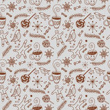 Doodle seamless winter and Christmas pattern Royalty Free Stock Images