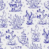 Doodle seaweeds and coralls seamless pattern. Background hand drawn. Vector illustration Royalty Free Stock Photos