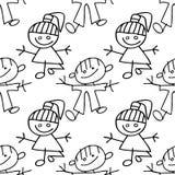 Doodle senza giunte del reticolo dei bambini Immagine Stock