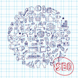Doodle seo concept with icons on Notepaper.Circle Royalty Free Stock Photo