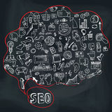 Doodle seo concept with icons in Speak bubble. Stock Photos
