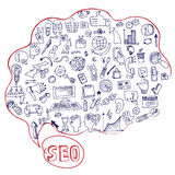 Doodle seo concept with icons in Speak bubble Stock Images
