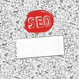 Doodle seo icons backgrround. Business backdrop Royalty Free Stock Image