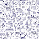 Doodle seo icons in seamless pattern.eps Royalty Free Stock Images