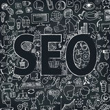 Doodle seo icons in word. Sketchy chalkboard Stock Photo