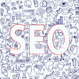 Doodle seo icons in word. Sketchy notepaper Royalty Free Stock Photography