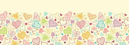 Doodle serc Horyzontalny Bezszwowy wzór ilustracja wektor