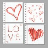Doodle serca na notatnik stronie Zdjęcia Royalty Free