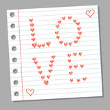 Doodle serca na notatnik stronie Obrazy Royalty Free