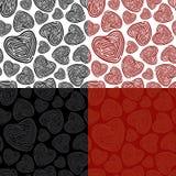 doodle serca wzór bezszwowy royalty ilustracja