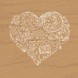 Doodle serce na textured brąz karcie Ilustracji