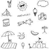 Doodle of set beach Stock Photos