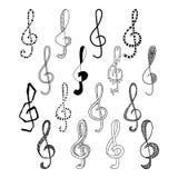 Doodle set of black treble clef, vector illustration Stock Image