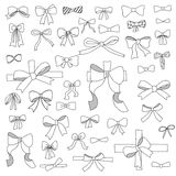 Doodle set of  bows, ribbons Stock Image