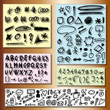 Doodle set of business, alphabet, numbers, shape hand drawn elements Royalty Free Stock Image