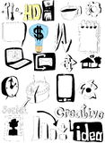 Doodle set business icons Stock Images