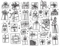 Christmas presents set stock illustration