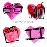 Doodle set of cinema objects. Set of vector illustrations of different cinema symbols on bright colorful hearts. Black sketchy outlines on pink paper textured Royalty Free Stock Images