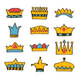 Doodle set of crowns. Hand drawn crowns Royalty Free Stock Image