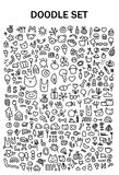 Doodle set with cute animals and things royalty free illustration