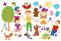Doodle set of cute child's life including pets, toys, plants Royalty Free Stock Image