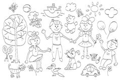 Doodle set of cute child's life including pets, toys, plants Stock Photos