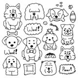 Doodle set of cute dogs different breeds. Drawn by hand illustration of doggy collection. Sketches of animals in simple. Style. Vector set, pretty dogs stock illustration