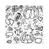 Doodle set with cute love symbols. Vector illustration. royalty free illustration