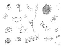 Doodle set for design and decoration of celebrations and events, parties, invitations, postcards. Isolated objects on vector illustration