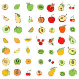 Doodle set of different fruits. Isolated on white background vector illustration