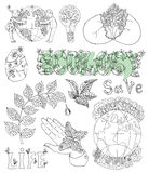 Doodle set with eco drawings, icons and symbols Stock Photo