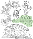 Doodle set with eco drawings, icons and symbols 2 Royalty Free Stock Image