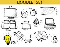Doodle set of elements an interior handmade. Sketch furniture Stock Photos