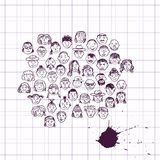 Doodle set of faces Stock Photography