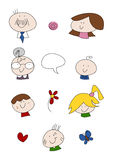 Doodle Set: Family. Set of colorful doodle illustrations portraying a happy family: Mother, father, grandmother and kids (isolated Stock Image