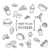 Doodle set Fastfood Obraz Stock